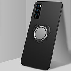 Coque Ultra Fine Silicone Souple Housse Etui avec Support Bague Anneau Aimante Magnetique pour Huawei Enjoy 20 Pro 5G Noir