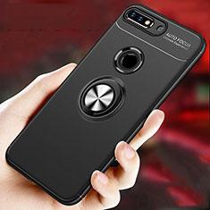 Coque Ultra Fine Silicone Souple Housse Etui avec Support Bague Anneau Aimante Magnetique pour Huawei Enjoy 8 Plus Noir