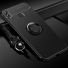 Coque Ultra Fine Silicone Souple Housse Etui avec Support Bague Anneau Aimante Magnetique pour Huawei Honor 10 Lite Noir