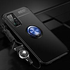 Coque Ultra Fine Silicone Souple Housse Etui avec Support Bague Anneau Aimante Magnetique pour Huawei Honor 30 Bleu et Noir