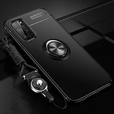 Coque Ultra Fine Silicone Souple Housse Etui avec Support Bague Anneau Aimante Magnetique pour Huawei Honor 30 Pro Noir