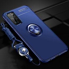 Coque Ultra Fine Silicone Souple Housse Etui avec Support Bague Anneau Aimante Magnetique pour Huawei Honor 30 Pro+ Plus Bleu