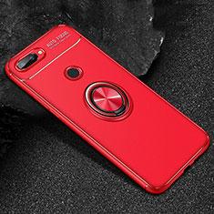 Coque Ultra Fine Silicone Souple Housse Etui avec Support Bague Anneau Aimante Magnetique pour Huawei Honor 9 Lite Rouge