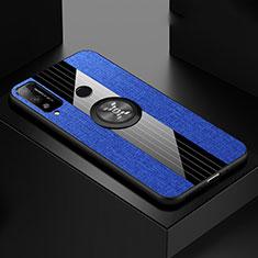 Coque Ultra Fine Silicone Souple Housse Etui avec Support Bague Anneau Aimante Magnetique pour Huawei Honor Play4T Bleu
