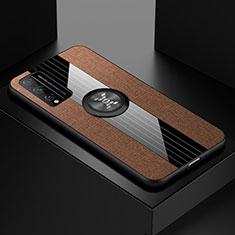 Coque Ultra Fine Silicone Souple Housse Etui avec Support Bague Anneau Aimante Magnetique pour Huawei Honor Play4T Pro Marron
