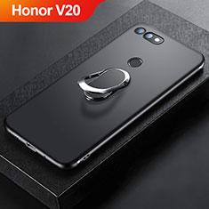 Coque Ultra Fine Silicone Souple Housse Etui avec Support Bague Anneau Aimante Magnetique pour Huawei Honor View 20 Noir