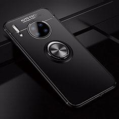 Coque Ultra Fine Silicone Souple Housse Etui avec Support Bague Anneau Aimante Magnetique pour Huawei Mate 30 5G Noir
