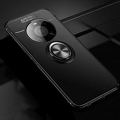 Coque Ultra Fine Silicone Souple Housse Etui avec Support Bague Anneau Aimante Magnetique pour Huawei Mate 40 Noir