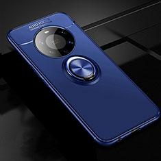 Coque Ultra Fine Silicone Souple Housse Etui avec Support Bague Anneau Aimante Magnetique pour Huawei Mate 40 Pro+ Plus Bleu