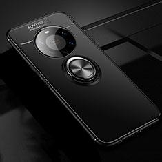 Coque Ultra Fine Silicone Souple Housse Etui avec Support Bague Anneau Aimante Magnetique pour Huawei Mate 40 Pro+ Plus Noir