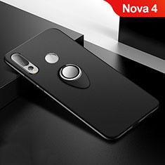 Coque Ultra Fine Silicone Souple Housse Etui avec Support Bague Anneau Aimante Magnetique pour Huawei Nova 4 Noir