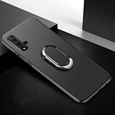Coque Ultra Fine Silicone Souple Housse Etui avec Support Bague Anneau Aimante Magnetique pour Huawei Nova 5T Noir