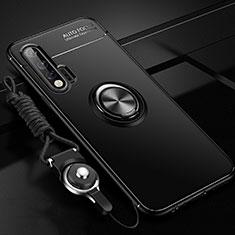 Coque Ultra Fine Silicone Souple Housse Etui avec Support Bague Anneau Aimante Magnetique pour Huawei Nova 6 5G Noir