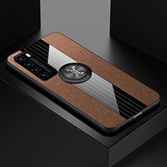 Coque Ultra Fine Silicone Souple Housse Etui avec Support Bague Anneau Aimante Magnetique pour Huawei Nova 7 5G Marron