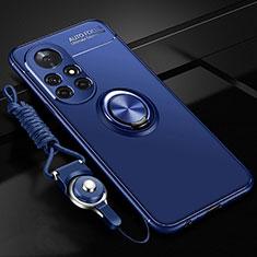 Coque Ultra Fine Silicone Souple Housse Etui avec Support Bague Anneau Aimante Magnetique pour Huawei Nova 8 Pro 5G Bleu