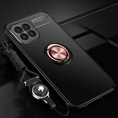 Coque Ultra Fine Silicone Souple Housse Etui avec Support Bague Anneau Aimante Magnetique pour Huawei Nova 8 SE 5G Or et Noir
