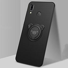 Coque Ultra Fine Silicone Souple Housse Etui avec Support Bague Anneau Aimante Magnetique pour Huawei P Smart (2019) Noir