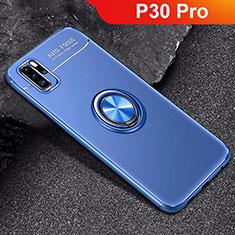 Coque Ultra Fine Silicone Souple Housse Etui avec Support Bague Anneau Aimante Magnetique pour Huawei P30 Pro Bleu