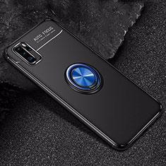 Coque Ultra Fine Silicone Souple Housse Etui avec Support Bague Anneau Aimante Magnetique pour Huawei P30 Pro Bleu et Noir