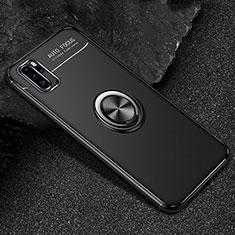 Coque Ultra Fine Silicone Souple Housse Etui avec Support Bague Anneau Aimante Magnetique pour Huawei P30 Pro Noir