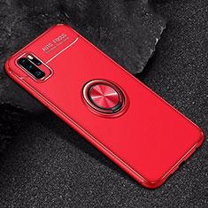 Coque Ultra Fine Silicone Souple Housse Etui avec Support Bague Anneau Aimante Magnetique pour Huawei P30 Pro Rouge