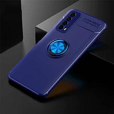 Coque Ultra Fine Silicone Souple Housse Etui avec Support Bague Anneau Aimante Magnetique pour Huawei Y7a Bleu