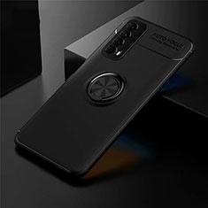Coque Ultra Fine Silicone Souple Housse Etui avec Support Bague Anneau Aimante Magnetique pour Huawei Y7a Noir