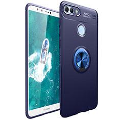Coque Ultra Fine Silicone Souple Housse Etui avec Support Bague Anneau Aimante Magnetique pour Huawei Y9 (2018) Bleu