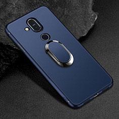 Coque Ultra Fine Silicone Souple Housse Etui avec Support Bague Anneau Aimante Magnetique pour Nokia 7.1 Plus Bleu