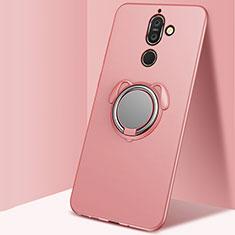 Coque Ultra Fine Silicone Souple Housse Etui avec Support Bague Anneau Aimante Magnetique pour Nokia 7 Plus Or Rose