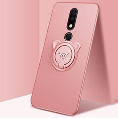Coque Ultra Fine Silicone Souple Housse Etui avec Support Bague Anneau Aimante Magnetique pour Nokia X5 Or Rose