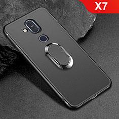 Coque Ultra Fine Silicone Souple Housse Etui avec Support Bague Anneau Aimante Magnetique pour Nokia X7 Noir