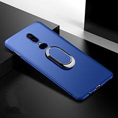 Coque Ultra Fine Silicone Souple Housse Etui avec Support Bague Anneau Aimante Magnetique pour OnePlus 6T Bleu