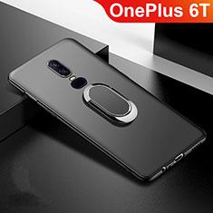 Coque Ultra Fine Silicone Souple Housse Etui avec Support Bague Anneau Aimante Magnetique pour OnePlus 6T Noir