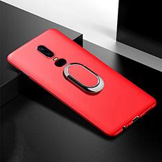 Coque Ultra Fine Silicone Souple Housse Etui avec Support Bague Anneau Aimante Magnetique pour OnePlus 6T Rouge