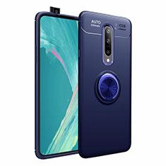 Coque Ultra Fine Silicone Souple Housse Etui avec Support Bague Anneau Aimante Magnetique pour OnePlus 7 Pro Bleu