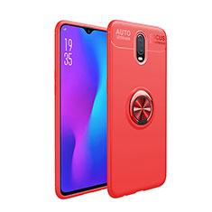 Coque Ultra Fine Silicone Souple Housse Etui avec Support Bague Anneau Aimante Magnetique pour OnePlus 7 Rouge