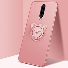 Coque Ultra Fine Silicone Souple Housse Etui avec Support Bague Anneau Aimante Magnetique pour OnePlus 8 Or Rose