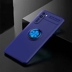 Coque Ultra Fine Silicone Souple Housse Etui avec Support Bague Anneau Aimante Magnetique pour OnePlus Nord Bleu
