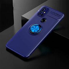 Coque Ultra Fine Silicone Souple Housse Etui avec Support Bague Anneau Aimante Magnetique pour OnePlus Nord N10 5G Bleu