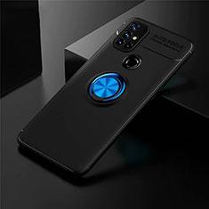 Coque Ultra Fine Silicone Souple Housse Etui avec Support Bague Anneau Aimante Magnetique pour OnePlus Nord N10 5G Bleu et Noir