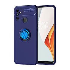 Coque Ultra Fine Silicone Souple Housse Etui avec Support Bague Anneau Aimante Magnetique pour OnePlus Nord N100 Bleu