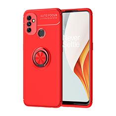Coque Ultra Fine Silicone Souple Housse Etui avec Support Bague Anneau Aimante Magnetique pour OnePlus Nord N100 Rouge