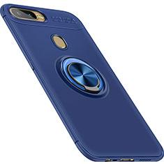 Coque Ultra Fine Silicone Souple Housse Etui avec Support Bague Anneau Aimante Magnetique pour Oppo A7 Bleu