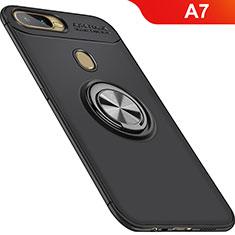 Coque Ultra Fine Silicone Souple Housse Etui avec Support Bague Anneau Aimante Magnetique pour Oppo A7 Noir