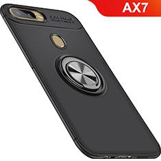 Coque Ultra Fine Silicone Souple Housse Etui avec Support Bague Anneau Aimante Magnetique pour Oppo AX7 Noir
