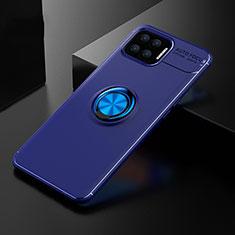 Coque Ultra Fine Silicone Souple Housse Etui avec Support Bague Anneau Aimante Magnetique pour Oppo F17 Bleu