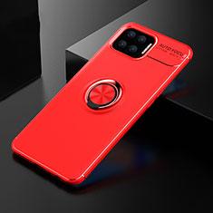 Coque Ultra Fine Silicone Souple Housse Etui avec Support Bague Anneau Aimante Magnetique pour Oppo F17 Rouge