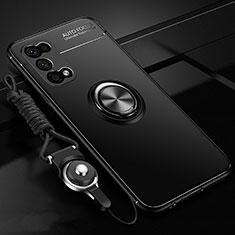 Coque Ultra Fine Silicone Souple Housse Etui avec Support Bague Anneau Aimante Magnetique pour Oppo K7x 5G Noir