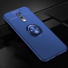 Coque Ultra Fine Silicone Souple Housse Etui avec Support Bague Anneau Aimante Magnetique pour Oppo Realme X Bleu